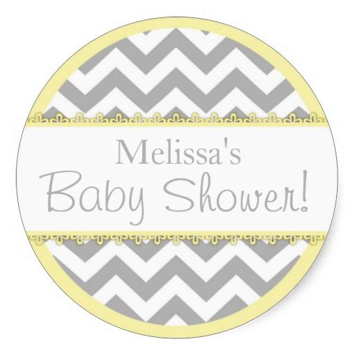Chevron Print and Yellow Contrast Baby Shower Round Stickers! Make your own sticker more personal to celebrate the arrival of a new baby. Just add your photos and words to this great design.