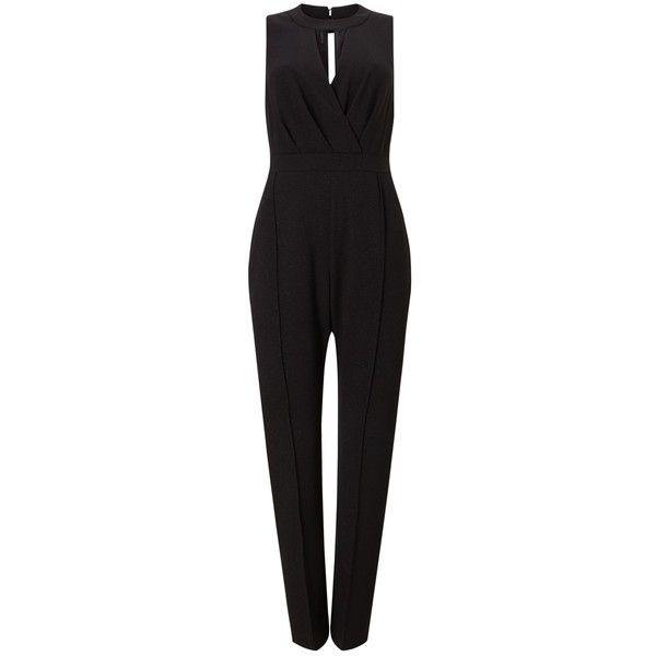 Phase Eight Karenina Sparkle Jumpsuit, Black (£84) ❤ liked on Polyvore featuring jumpsuits, sleeveless jumpsuits, print jumpsuit, evening jumpsuits, patterned jumpsuit and sparkly jumpsuit