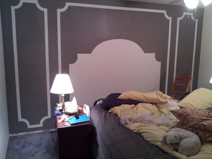 "Easy & cheap for the guest bedroom...""headboard & panels"" with paint"