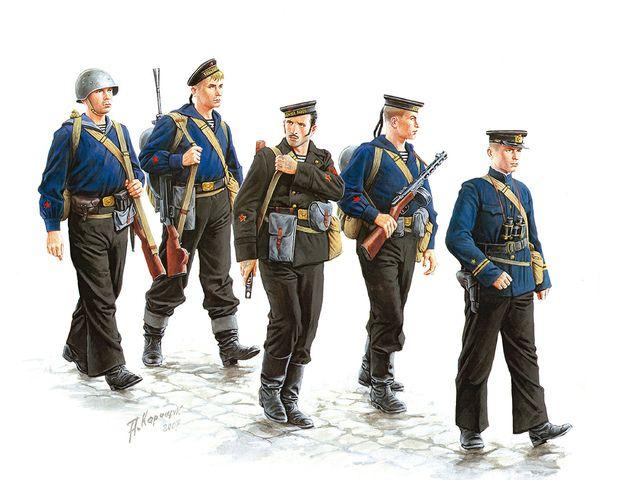Картинка черные бушлаты, морская пехота, Арт, солдаты, ссср 1600x900, фото 96601