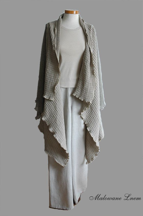 Linen cardigan with linen knit