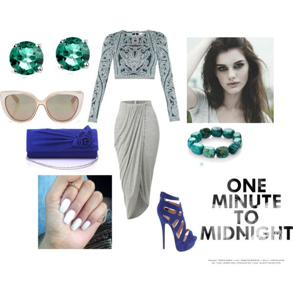 ...To Midnight by annabellalom on Polyvore featuring Hervé Léger, Nest, Glitzy Rocks and Jimmy Choo