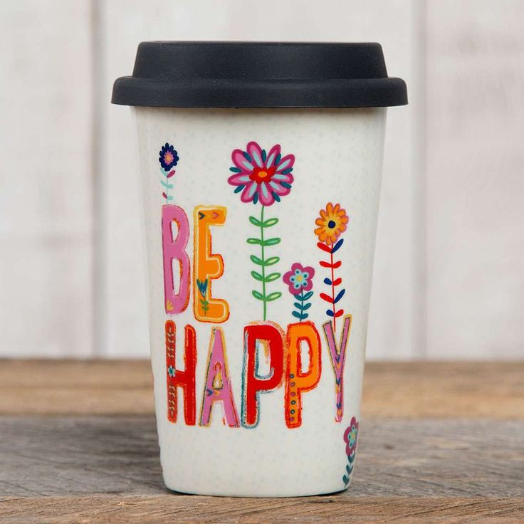 """Be Happy"" Thermal Mug - Our super cute ceramic double-walled coffee mugs keep drinks hot - and cars and clothes splash-free. Double-walled ceramic mugs with flexible silicone lids and ""Be Happy"" sentiment. Great gifts for people on the go!"