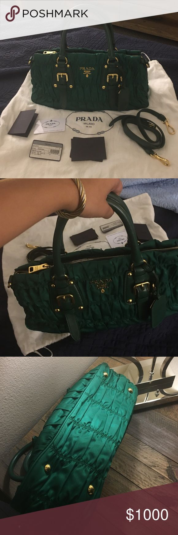 Iconic Prada bag for sale no trades no damage, rips, tears, smell. Prada BN1407 Tessuto Gaufre Tote- Oleandro (Green) Top Zip closure, Double Handle, Detachable shoulder strap, Signature Nylon in Gold-plated hardware, Metal Lettering Logo, Three inside pocket, One zipper pocket, Prada logo lining. Comes with leather strap, no fading in hardware, with certificate card etc no receipt. Selling only Prada Bags