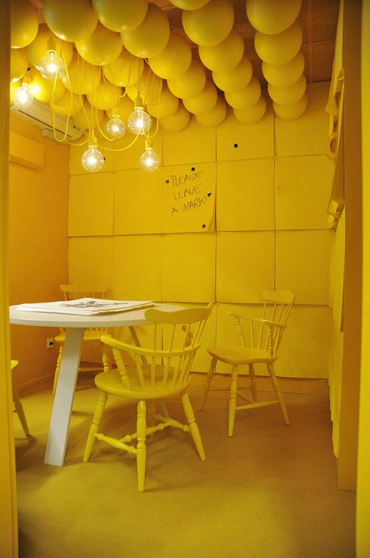 Yellow interior at the Monki head quarter