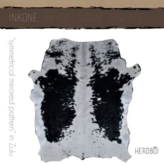 Cowhide Rug Small black and white hide from Africa it by Herdboi