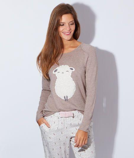 Pyjama 2 pièces mouton - TATIANA - BEIGE - Etam Lingerie - Octobre 2015 - 39,90€