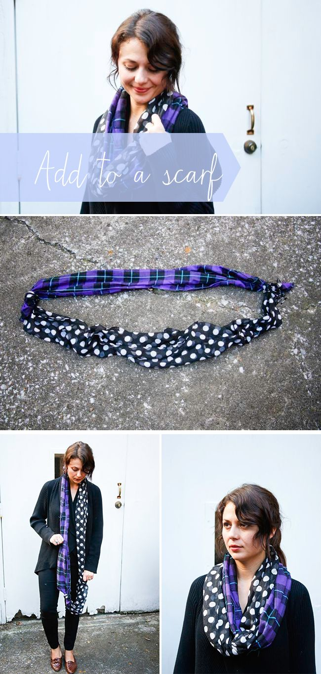 make an infinity scarf by tying 2 scarves together