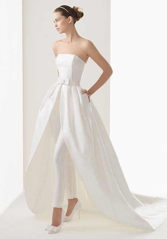 8ec917f582af Dress  2 - Party all night long! ........This three-piece bridal pantsuit  has a strapless