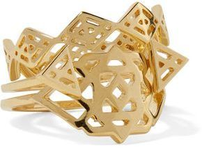 Noir Aztec Set Of Three Gold-Tone Rings