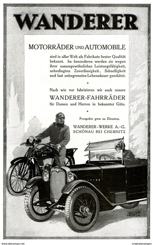 Vintage Werbung Original Werbung Anzeige WANDERER AUTOMOBIL MOTORRAD FAHRRAD