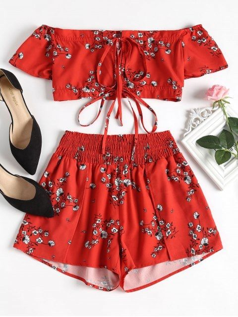 Shop for Off Shoulder Floral Top and Shorts Set RED: Two-Piece Outfits S at ZAFU... 2