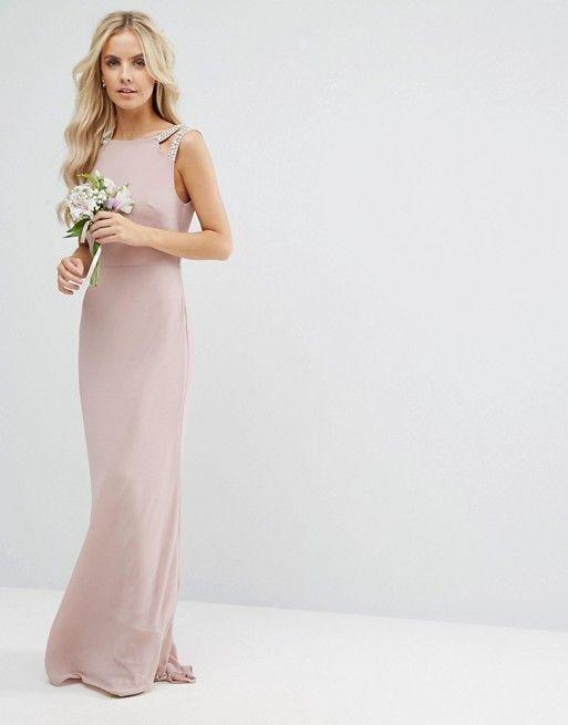 TFNC Petite   TFNC Petite Wedding High Neck Maxi Dress With Embellished Low Back