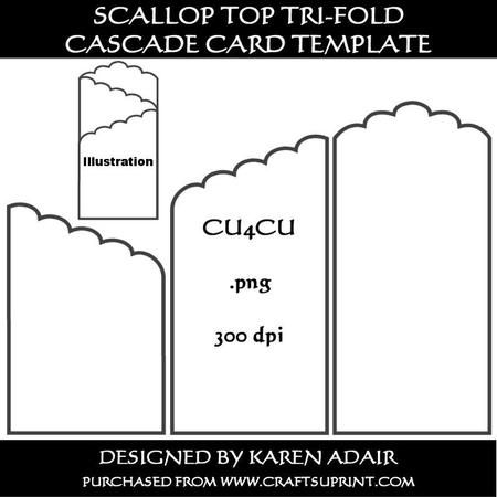 scallop top tri fold cascade card template on craftsuprint designed by karen adair this. Black Bedroom Furniture Sets. Home Design Ideas
