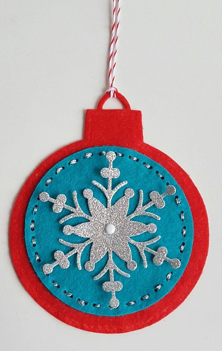 Filz, Felt, Schneeflocken, Rayher Stanze, Spellbinders Heirloom Ornament, Little B Dies, Nähen