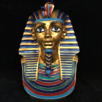 King Tutankhamun Mask Bust - Small. Made of resign painted Gold, blue, red, black & Green, Approx 16cm H - Made in Egypt
