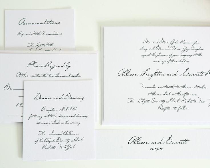 Handwritten Wedding Invitations In Black On White Shimmer Cardstock   Wedding  Invitations By Shine