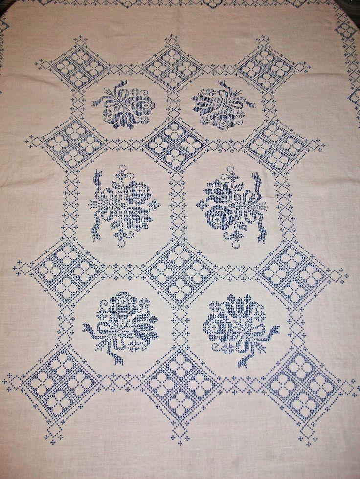 Antique Vintage Linen blue crosstitch table by apeekatthepast