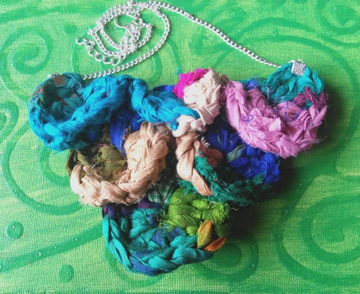Crochet sari silk necklace. made in Ireland by terramor on Etsy