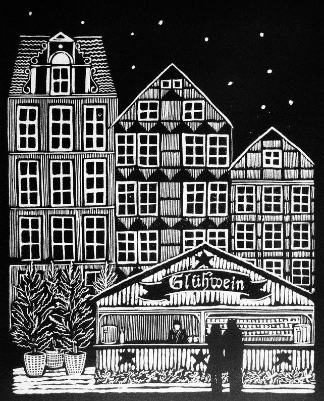 German Christmas Market linocut £50.00 - Helen Maxfield Printmaking