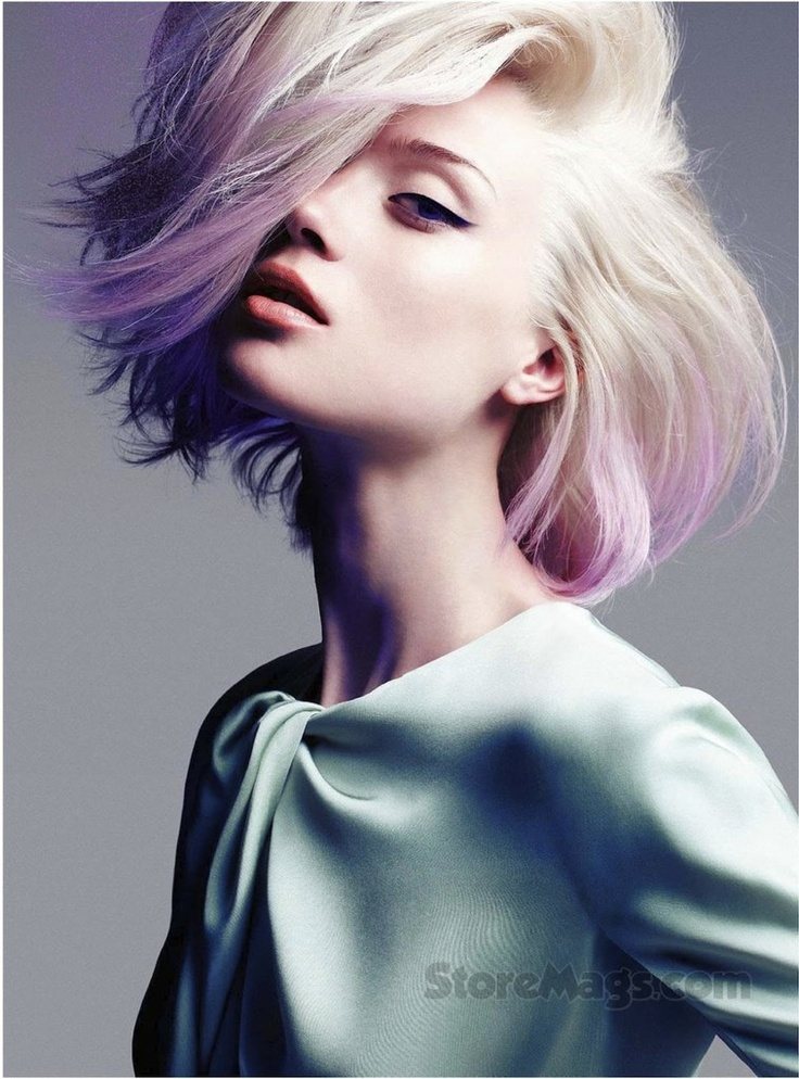 Sophisticated rocker dip dyed lavender blonde pastel hair ...