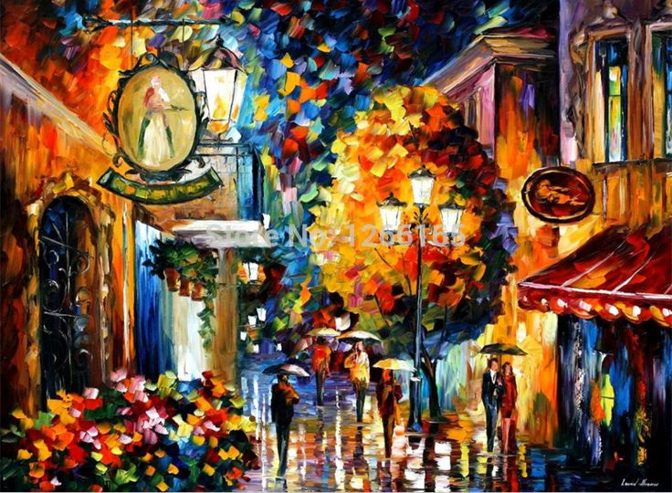 CITY BY THE LAKE-- Painting On Canvas By Leonid Afremov 24x36 inch No Frame 20% off W/Code PAINTING