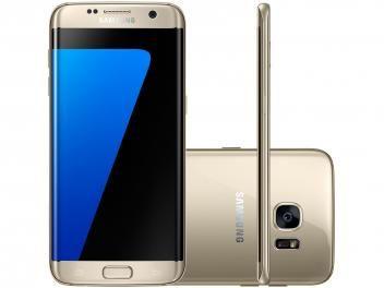 "Smartphone Samsung Galaxy S7 Edge 32GB Dourado 4G - Câm. 12MP + Selfie 5MP Tela 5.5"" Quad HD Octa Core"