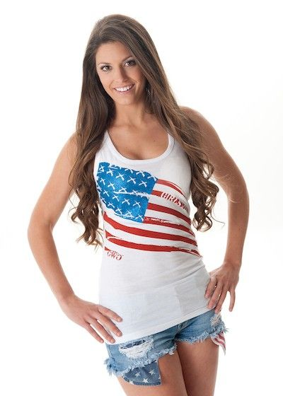 Girls With Guns Clothing Flag Tank - White