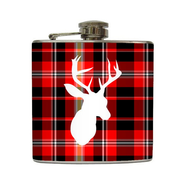 Deer Silhouette Whiskey Flask Plaid Buck Outdoorsmen Dad Groomsmen Guys Gift Stainless Steel 6 oz Liquor Hip Flask LC-1049. $25.00, via Etsy.