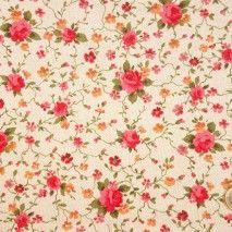 1-P0138 Fondo Beige, Flores Naranjas