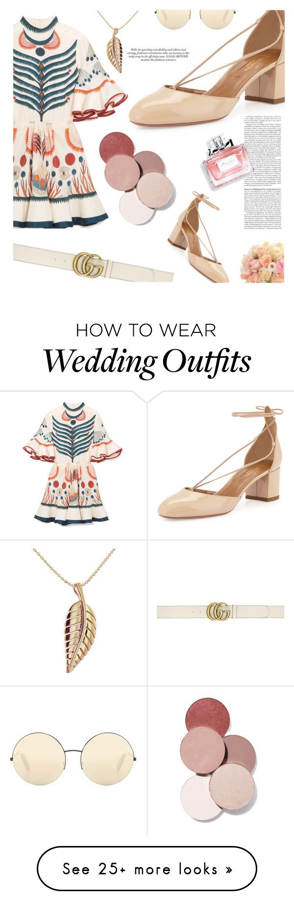 """Wedding Guest"" by samweedon on Polyvore featuring Chloé, Aquazzura, Gucci, Victoria Beckham, Jennifer Meyer Jewelry, LunatiCK Cosmetic Labs and Christian Dior"