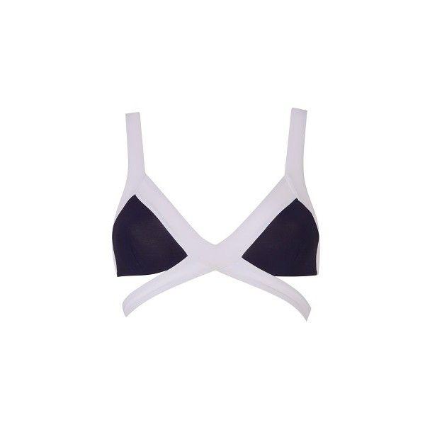 Agent Provocateur Mazzy Bikini Bra White/Black - (£145) ❤ liked on Polyvore featuring swimwear, bikinis, black, wrap bikini top, black and white bikini top, bandage triangle bikini, triangle bikinis and sporty bikini tops
