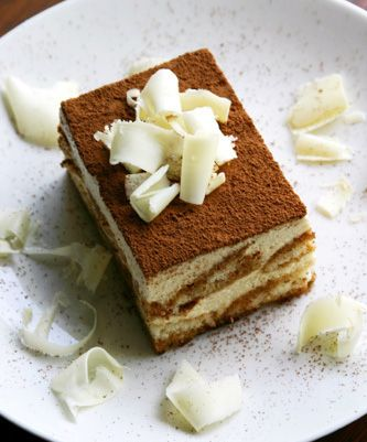 Traditional Italian Tiramisu- My favorite dessert. [Notes: add 1-2 Tbs marsala wine to coffee, spike mascarpone with taste of vanilla extract, & dust cake with cocoa powder before serving]