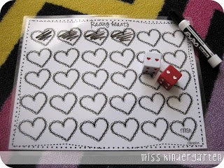 Racing Hearts Game.... I think this has great potential for addition/math practice.  Child rolls the dice and whatever the total (addition or even multiplication) is, is how many hearts to color. The next player goes. The first to color all hearts wins!  ((Maybe laminate and use dry erase!))