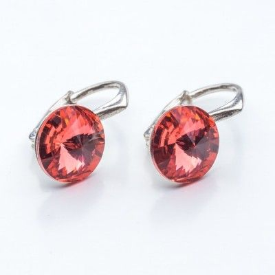 Swarovski Rivoli Earrings 8mm Padparadscha  Dimensions: length: 1,7cm stone size: 8mm Weight ~ 1,85g ( 1 pair ) Metal : sterling silver ( AG-925) Stones: Swarovski Elements 1122 SS39 Colour: Padparadscha 1 package = 1 pair
