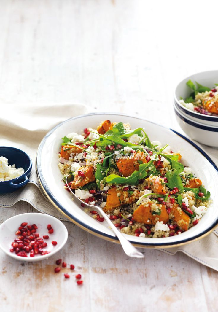 Prep 20 mins | Cook 45 mins | Serves 4 800g Jap pumpkin, deseeded and roughly chopped  1 red onion, cut into thin wedges Olive oil cooking spray 3⁄4 cup white grain quinoa, rinsed and drained 1⁄2 cup flat-leaf parsley leaves, chopped 40g baby rocket leaves 1 tbs lemon juice 100g Greek feta cheese, crumbled 1⁄2 small pomegranate, seeds removed 2 tbs extra virgin olive oil  Step 1 Preheat oven to 220°C/200°C fan-forced. Place pumpkin and red onion on a large baking tray lined with baking p...