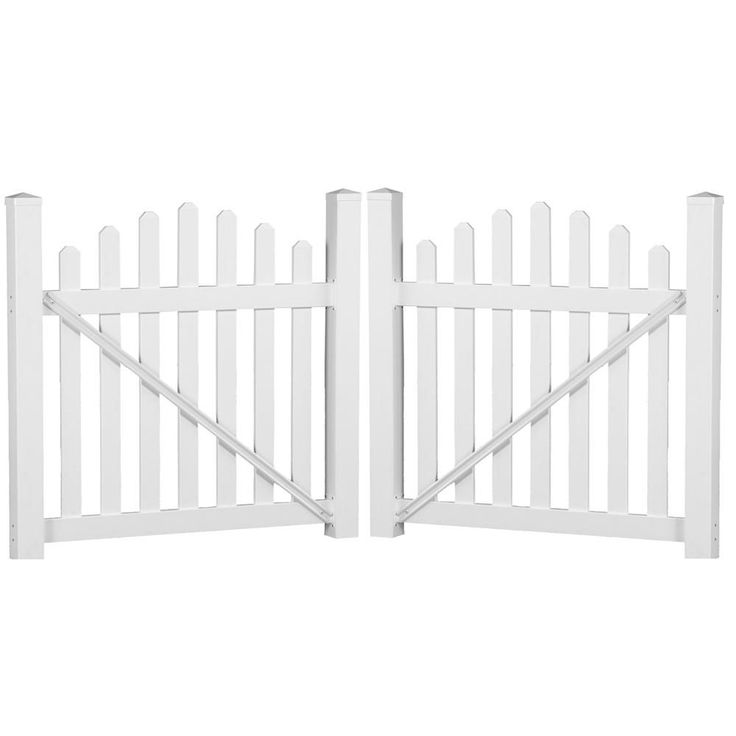 Sanibel 8.8 ft. W x 5 ft. H White Vinyl Picket Fence Double Gate