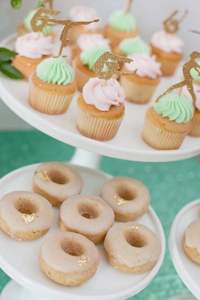 Cupcakes + Donuts from a Gymnastics Themed Birthday Party via Kara's Party Ideas KarasPartyIdeas.com (8)
