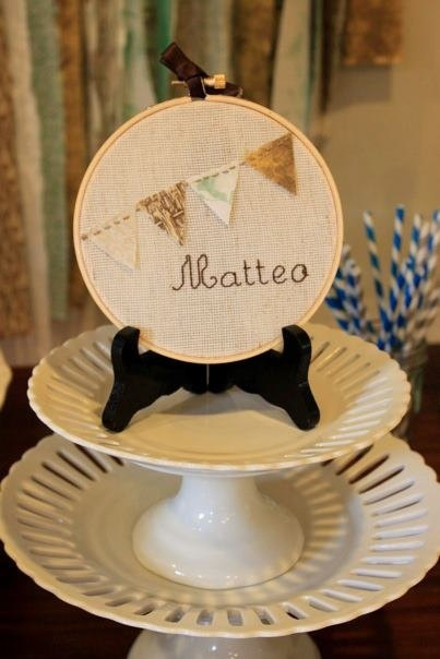 Custom Baby Name Wall Art with Flag/Pennant Bunting - Embroidery Hoop Art - Baby Gift or Shower Decor  via Etsy.