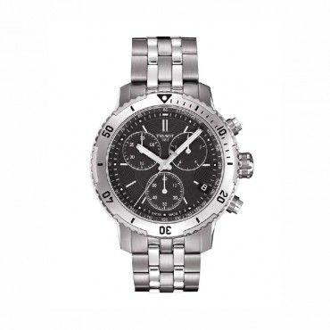 T0674171105101 Ανδρικό ελβετικό quartz ρολόι TISSOT PRS 200 με χρονογράφο, μπρασελέ & μαύρο καντράν | Ανδρικά ρολόγια TISSOT ΤΣΑΛΔΑΡΗΣ στο Χαλάνδρι