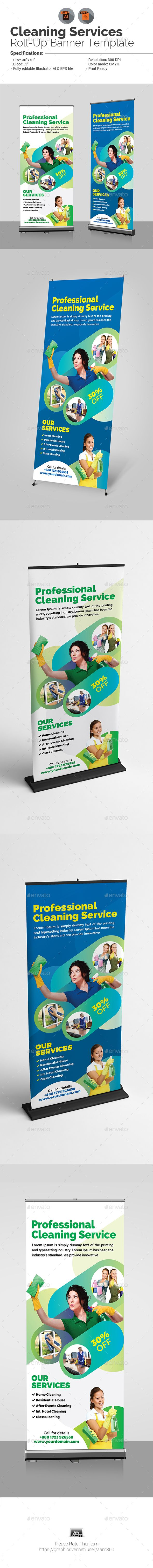 Cleaning Service Roll-Up Banner Template Vector EPS, AI