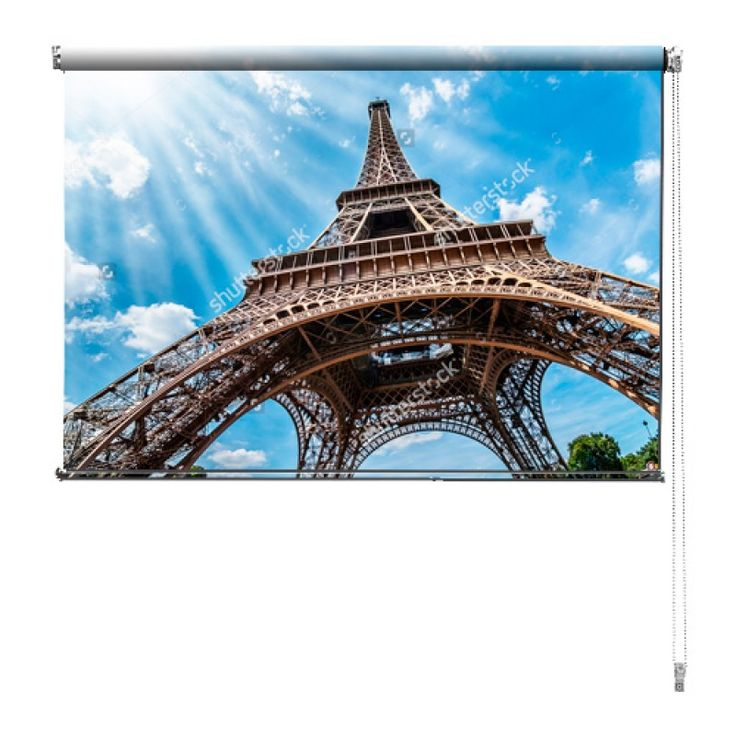 Rolgordijn Onder de Eiffeltoren | De rolgordijnen van YouPri zijn iets heel bijzonders! Maak keuze uit een verduisterend of een lichtdoorlatend rolgordijn. Inclusief ophangmechanisme voor wand of plafond! #rolgordijn #gordijn #lichtdoorlatend #verduisterend #goedkoop #voordelig #polyester #eiffeltoren #parijs #frans #frankrijk #lucht #architectuur