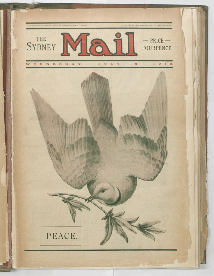 Peace. Sydney Mail, 9 July 1919. To order a fine art print of this image, please call the Library Shop on 61 2 9273 1611, quoting digital order number a9609258. http://acms.sl.nsw.gov.au/album/albumView.aspx?itemID=1064155&acmsid=0, image no. 258.