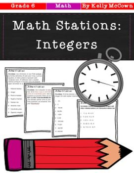 This math station activity is intended to help students understand positive and negative numbers are used together to describe quantities having opposite values, understand rational numbers on a number line, and understand ordering and absolute value of rational numbers.    Included are:    -6 different Integer stations to engage students   -Teacher facilitated activity for 60-90 minutes of classroom time   -Stations include vocabulary, technology, practice and applications of integers…