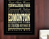 ON SALE Gigantic Typography Art Poster of Edmonton, Canada - Subway Roll Art 40X55 - Edmonton's Attractions Wall Art Decoration -  LHA-244