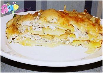 Рецепт картофельной запеканки с курицей и сыром по-французски
