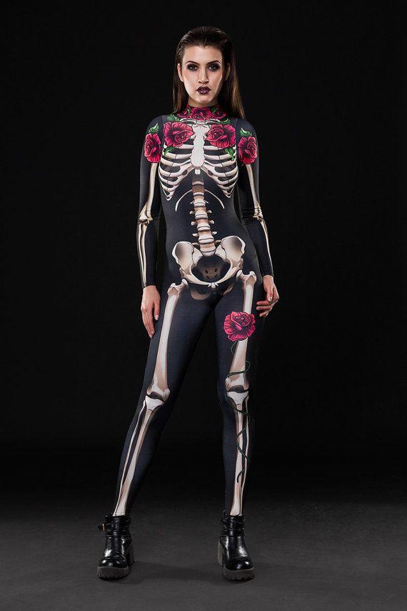 NEW! - SKELETON Halloween Costume, Full Body Skeleton, Adult Skeleton Catsuit, Skeleton Jumpsuit, Black Catsuit, Halloween Costumes, Outfit