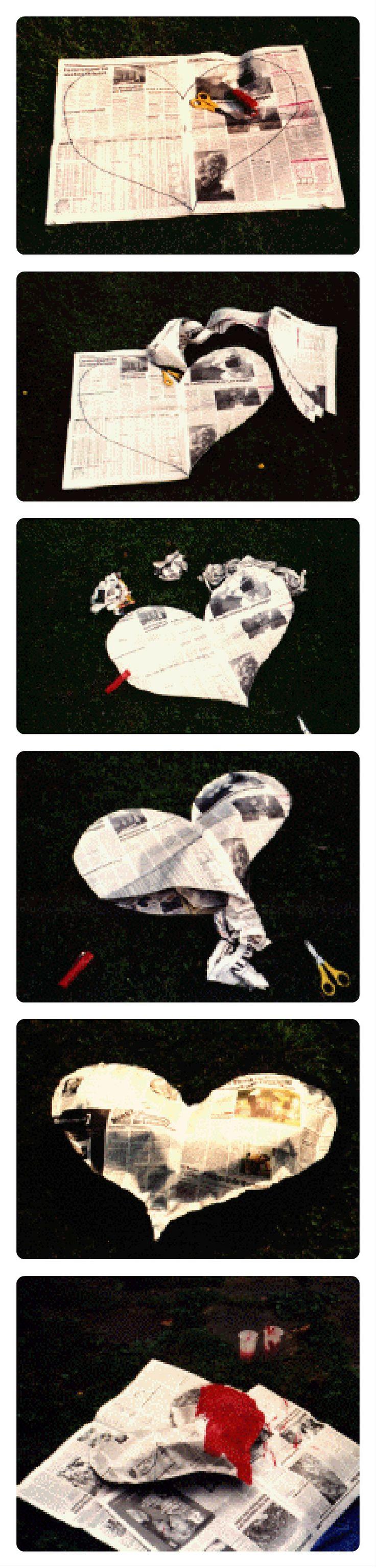 Opgevuld hart stap 1: neem 4 pagina's krantenpapier, die leg je op elkaar. Teken op het 1ste blad een groot hart. stap 2: het hart uitknippen (wel zo dat ze alle 4 op elkaar blijven) Je krijgt dus 4 harten. stap 3: de randen rondom het hart nieten (onderste punt vrijlaten, zodat het hart opgevuld kan worden) stap 4: van ander krantenpapier proppen maken & in het hart stoppen.(tussen 2 vellen) stap 5: punt aan elkaar nieten. stap 6: hart schilderen…