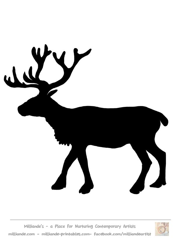 Free Reindeer Clipart Silhouettes of Reindeer Stag Picture for Printable Reindeer Crafts at www.milliande-printables.com
