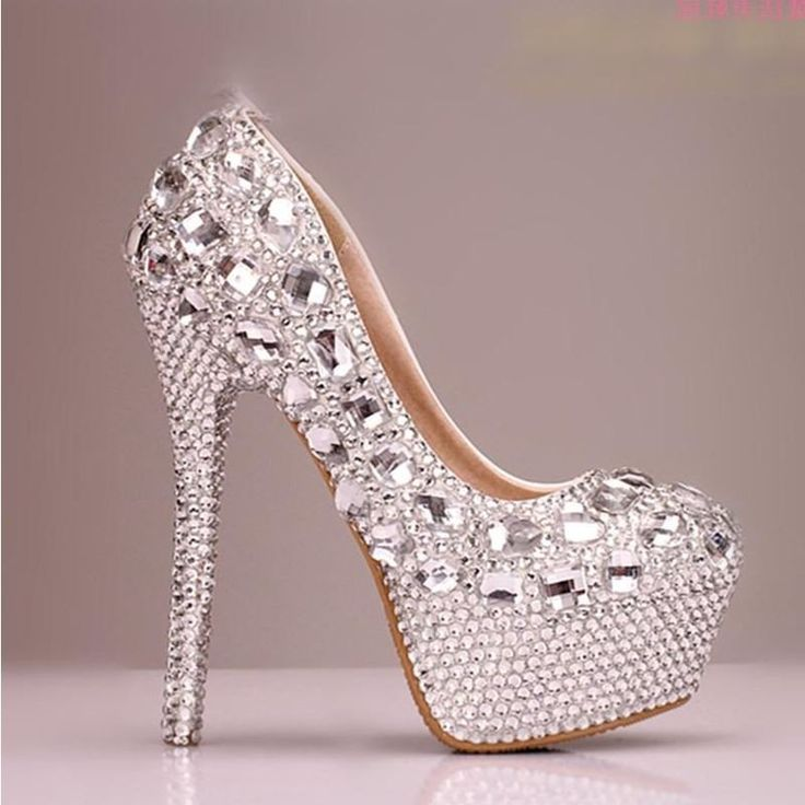 High Heels Handmade Fully Rhinestone Pointed Toe Crystal Wedding Shoes – LoverBridal
